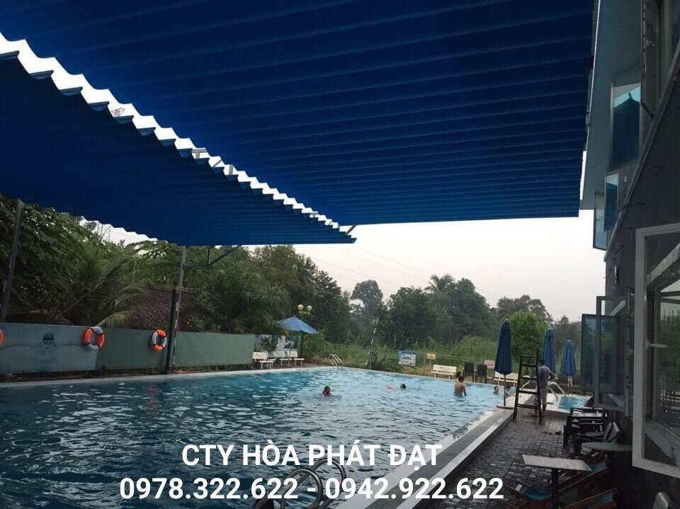 Báo Giá Lắp Đặt Mái Xếp Di Động Cho Bể Bơi, Làm Mái Bạt Xếp Lượn Sóng Giá Rẻ Bể Bơi